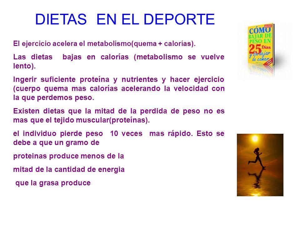 DIETAS EN EL DEPORTE El ejercicio acelera el metabolismo(quema + calorías). Las dietas bajas en calorías (metabolismo se vuelve lento). Ingerir sufici
