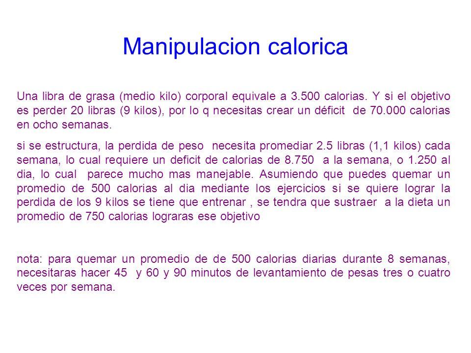 Manipulacion calorica Una libra de grasa (medio kilo) corporal equivale a 3.500 calorias. Y si el objetivo es perder 20 libras (9 kilos), por lo q nec