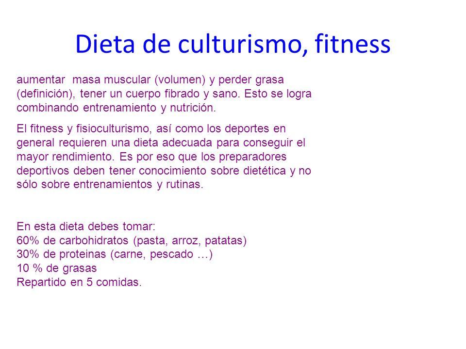 Dieta de culturismo, fitness aumentar masa muscular (volumen) y perder grasa (definición), tener un cuerpo fibrado y sano. Esto se logra combinando en