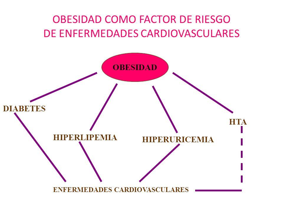 OBESIDAD COMO FACTOR DE RIESGO DE ENFERMEDADES CARDIOVASCULARES OBESIDAD DIABETES HIPERLIPEMIA HIPERURICEMIA HTA ENFERMEDADES CARDIOVASCULARES