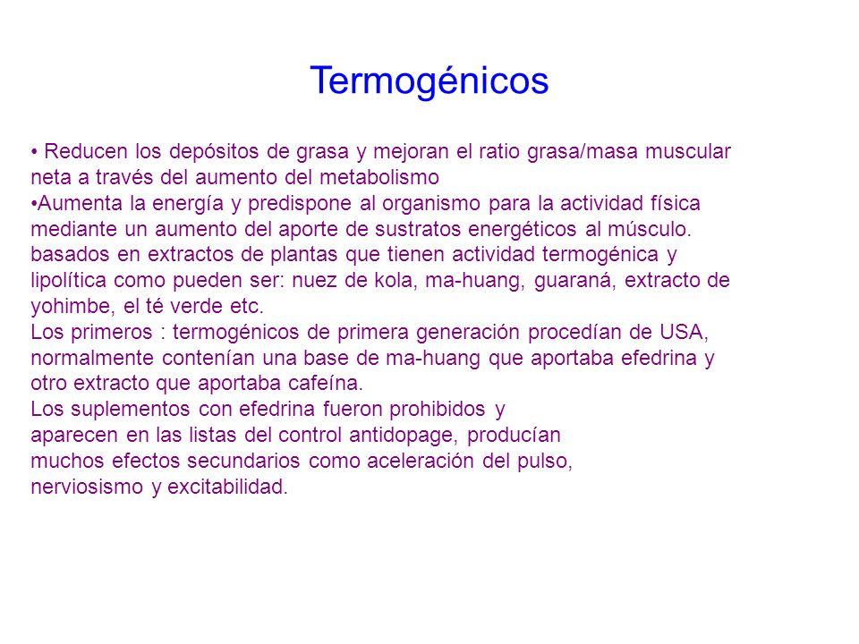 Termogénicos Reducen los depósitos de grasa y mejoran el ratio grasa/masa muscular neta a través del aumento del metabolismo Aumenta la energía y pred