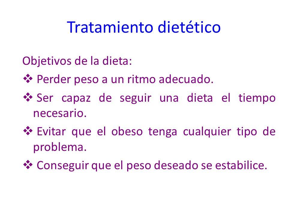 Tratamiento dietético Objetivos de la dieta: Perder peso a un ritmo adecuado. Ser capaz de seguir una dieta el tiempo necesario. Evitar que el obeso t