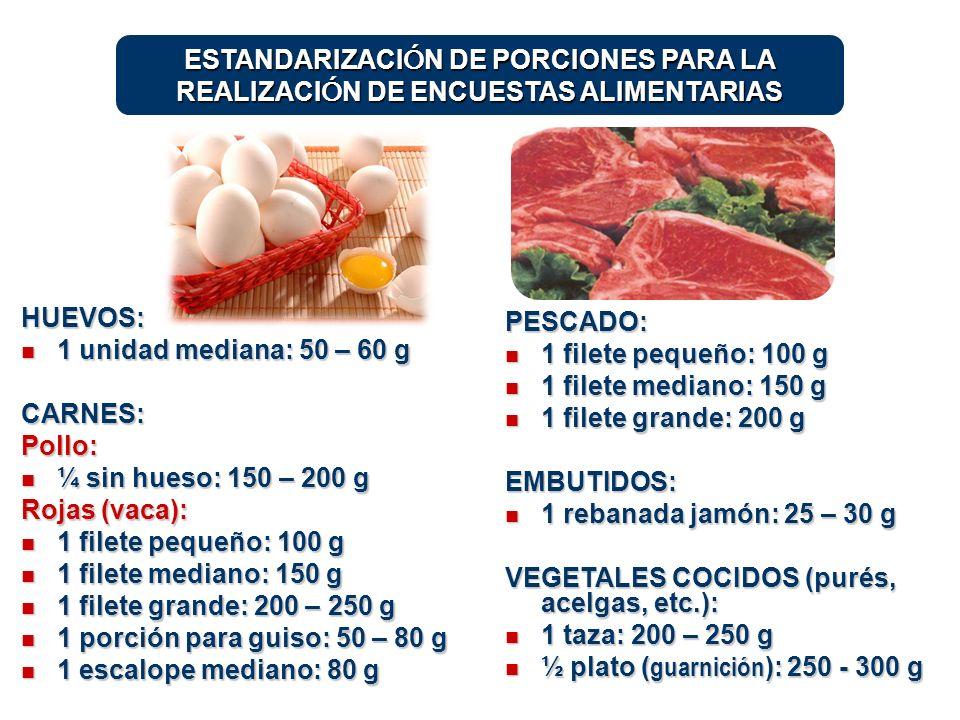 HUEVOS: 1 unidad mediana: 50 – 60 g 1 unidad mediana: 50 – 60 gCARNES:Pollo: ¼ sin hueso: 150 – 200 g ¼ sin hueso: 150 – 200 g Rojas (vaca): 1 filete