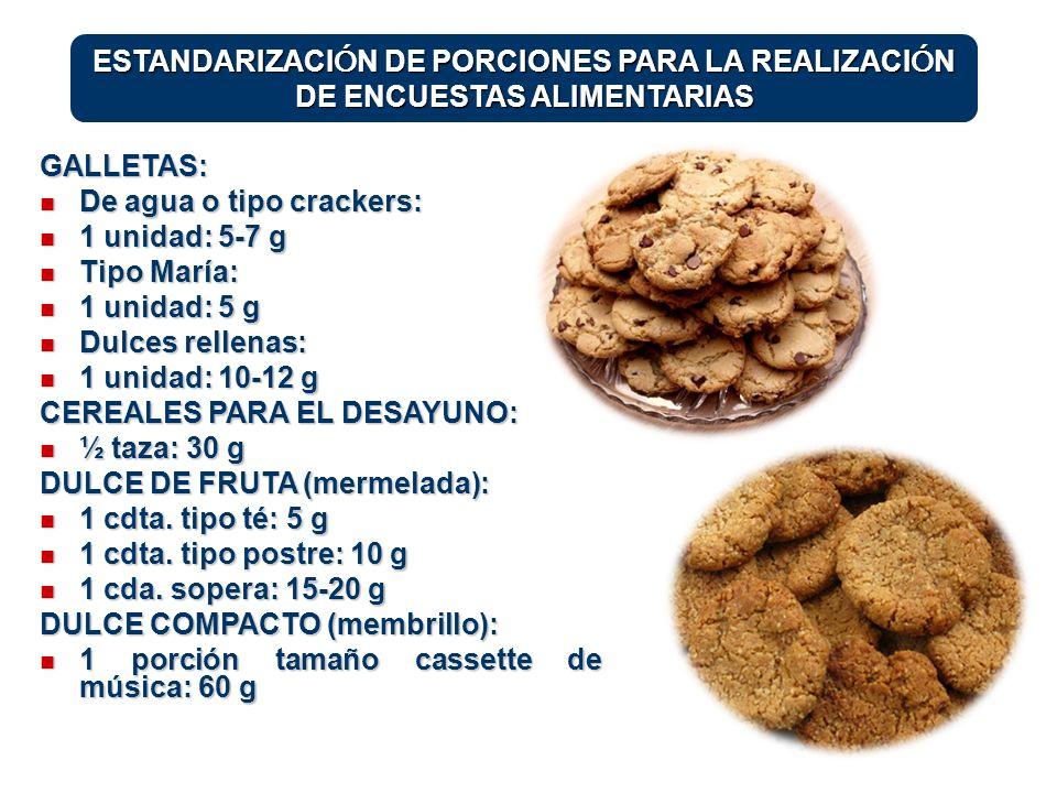 GALLETAS: De agua o tipo crackers: De agua o tipo crackers: 1 unidad: 5-7 g 1 unidad: 5-7 g Tipo María: Tipo María: 1 unidad: 5 g 1 unidad: 5 g Dulces