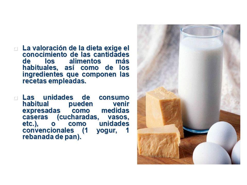 La valoración de la dieta exige el conocimiento de las cantidades de los alimentos más habituales, así como de los ingredientes que componen las recet