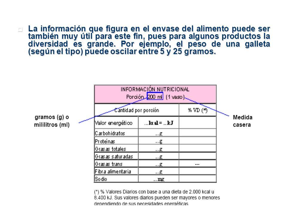 La información que figura en el envase del alimento puede ser también muy útil para este fin, pues para algunos productos la diversidad es grande. Por