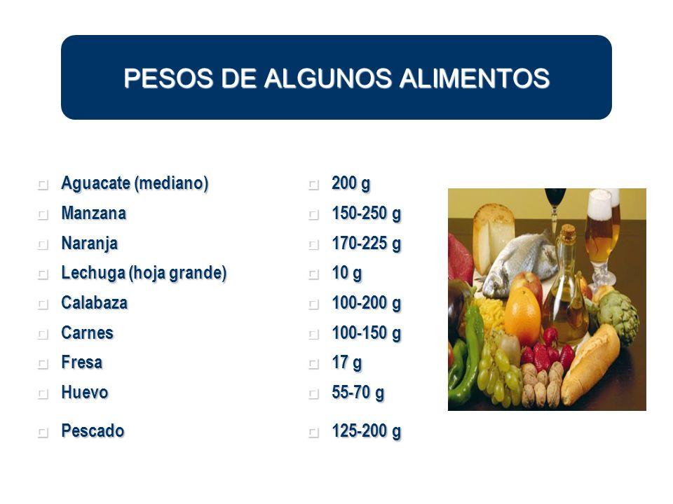 PESOS DE ALGUNOS ALIMENTOS Aguacate (mediano) Aguacate (mediano) 200 g 200 g Manzana Manzana 150-250 g 150-250 g Naranja Naranja 170-225 g 170-225 g L