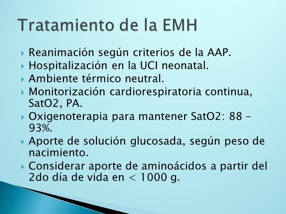 Reanimación según criterios de la AAP. Hospitalización en la UCI neonatal. Ambiente térmico neutral. Monitorización cardiorespiratoria continua, SatO2