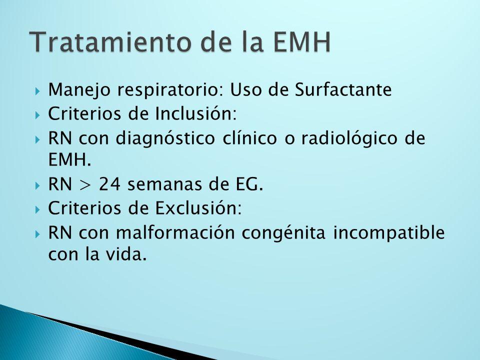 Manejo respiratorio: Uso de Surfactante Criterios de Inclusión: RN con diagnóstico clínico o radiológico de EMH. RN > 24 semanas de EG. Criterios de E