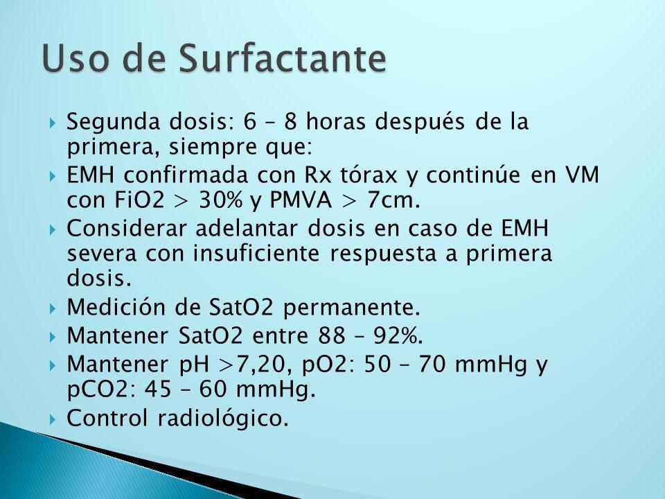 Segunda dosis: 6 – 8 horas después de la primera, siempre que: EMH confirmada con Rx tórax y continúe en VM con FiO2 > 30% y PMVA > 7cm. Considerar ad