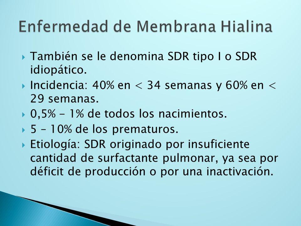 También se le denomina SDR tipo I o SDR idiopático. Incidencia: 40% en < 34 semanas y 60% en < 29 semanas. 0,5% - 1% de todos los nacimientos. 5 – 10%