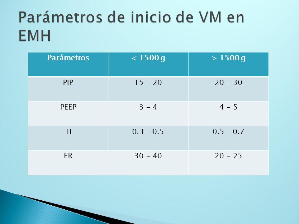 Parámetros< 1500 g> 1500 g PIP15 - 2020 - 30 PEEP3 - 44 - 5 TI0.3 – 0.50.5 – 0.7 FR30 - 4020 - 25