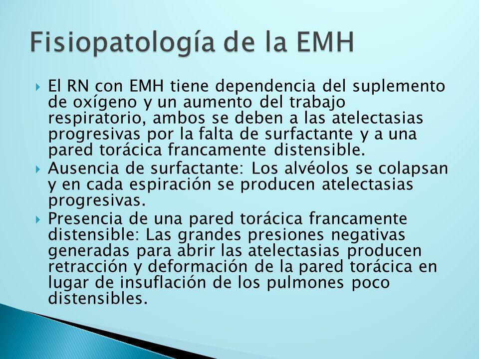 El RN con EMH tiene dependencia del suplemento de oxígeno y un aumento del trabajo respiratorio, ambos se deben a las atelectasias progresivas por la