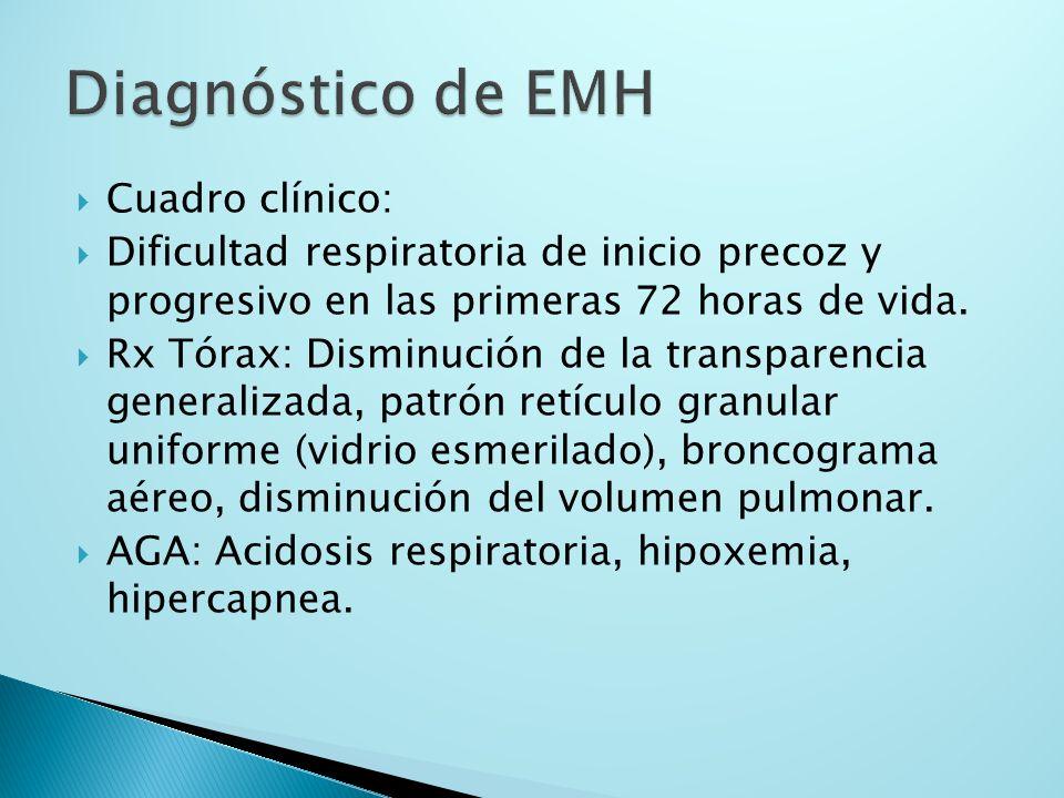Cuadro clínico: Dificultad respiratoria de inicio precoz y progresivo en las primeras 72 horas de vida. Rx Tórax: Disminución de la transparencia gene