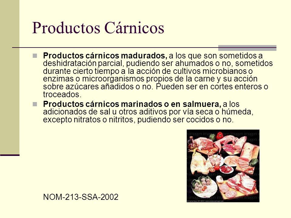Limites máximos para microorganismos y parásitos ProductoMesófilos aerobios (UFC/g) Coliformes fecales (NMP/g) Salmonella spp en 25 g Trichinella spiralis Cisticercos Cocidos10,000 1 60,000 2 < 3AusenteN.A.