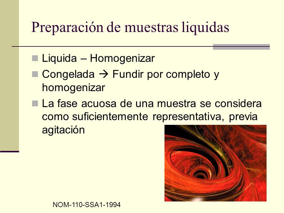 Preparación de muestras liquidas Liquida – Homogenizar Congelada Fundir por completo y homogenizar La fase acuosa de una muestra se considera como suf