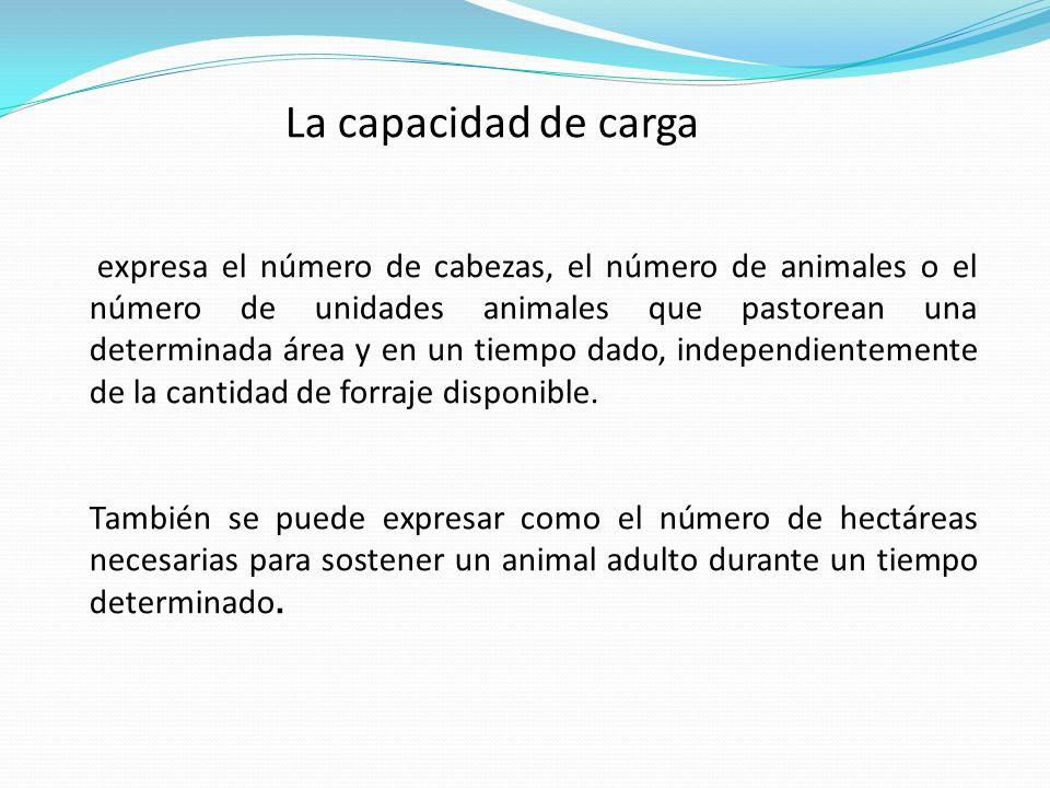 La capacidad de carga expresa el número de cabezas, el número de animales o el número de unidades animales que pastorean una determinada área y en un