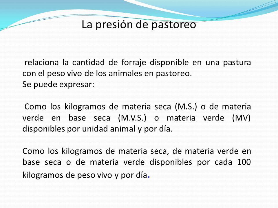 La presión de pastoreo relaciona la cantidad de forraje disponible en una pastura con el peso vivo de los animales en pastoreo. Se puede expresar: Com