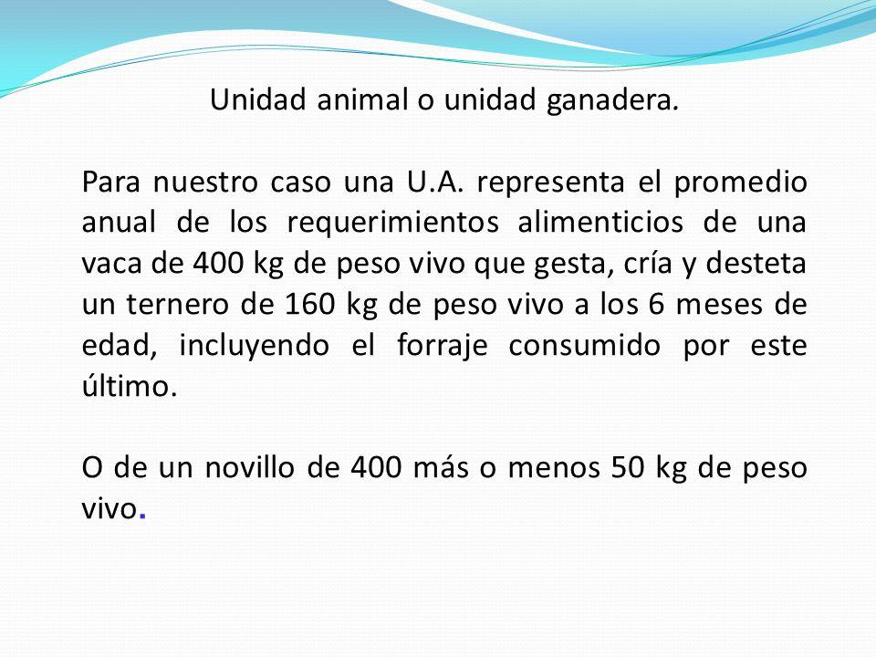 Unidad animal o unidad ganadera. Para nuestro caso una U.A. representa el promedio anual de los requerimientos alimenticios de una vaca de 400 kg de p