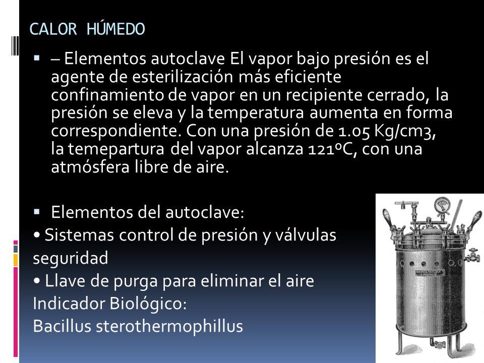 CALOR HÚMEDO – Elementos autoclave El vapor bajo presión es el agente de esterilización más eficiente confinamiento de vapor en un recipiente cerrado,