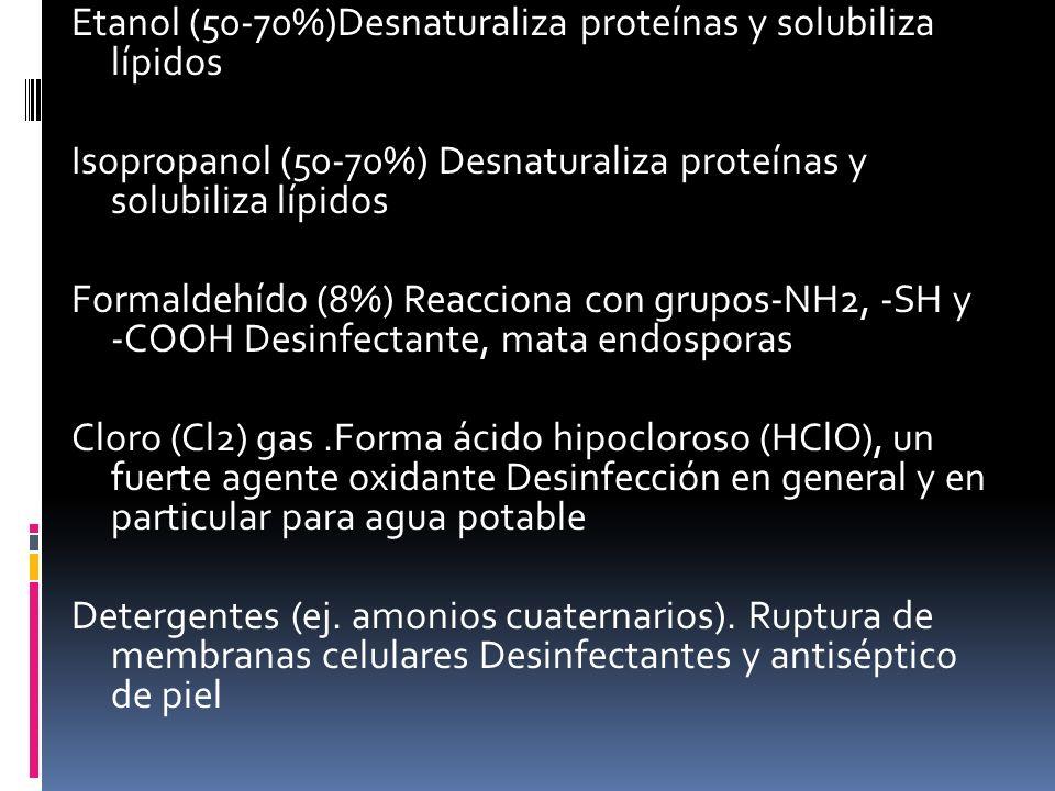 Etanol (50-70%)Desnaturaliza proteínas y solubiliza lípidos Isopropanol (50-70%) Desnaturaliza proteínas y solubiliza lípidos Formaldehído (8%) Reacci
