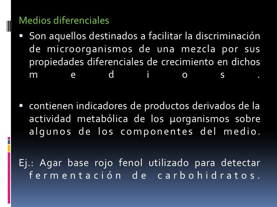 Medios diferenciales Son aquellos destinados a facilitar la discriminación de microorganismos de una mezcla por sus propiedades diferenciales de creci