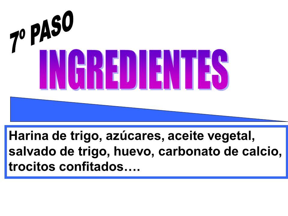 Harina de trigo, azúcares, aceite vegetal, salvado de trigo, huevo, carbonato de calcio, trocitos confitados….