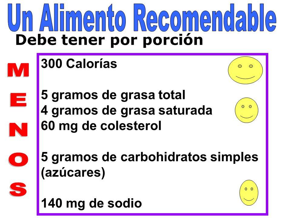 Debe tener por porción 300 Calorías 5 gramos de grasa total 4 gramos de grasa saturada 60 mg de colesterol 5 gramos de carbohidratos simples (azúcares