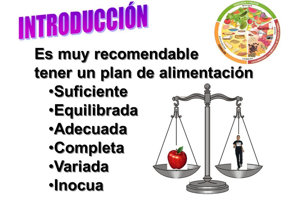 Es muy recomendable tener un plan de alimentación Suficiente Equilibrada Adecuada Completa Variada Inocua Es muy recomendable tener un plan de aliment