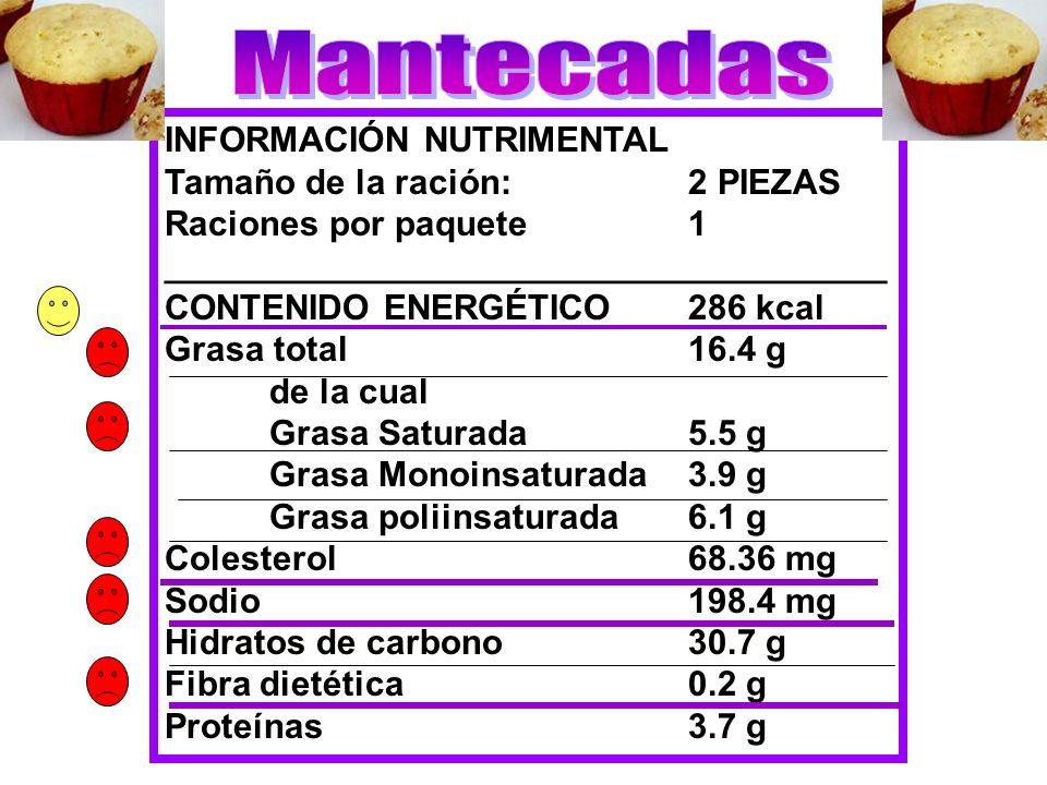 INFORMACIÓN NUTRIMENTAL Tamaño de la ración:2 PIEZAS Raciones por paquete1 _____________________________________ CONTENIDO ENERGÉTICO286 kcal Grasa to