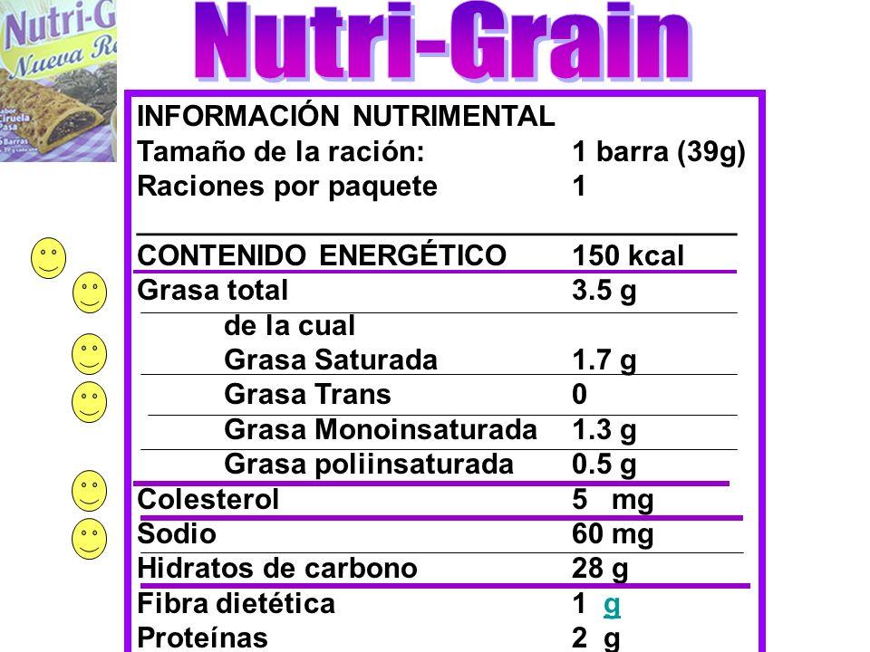 INFORMACIÓN NUTRIMENTAL Tamaño de la ración:1 barra (39g) Raciones por paquete1 _____________________________________ CONTENIDO ENERGÉTICO150 kcal Gra