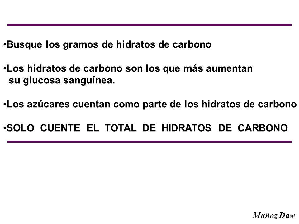 Busque los gramos de hidratos de carbono Los hidratos de carbono son los que más aumentan su glucosa sanguínea. Los azúcares cuentan como parte de los