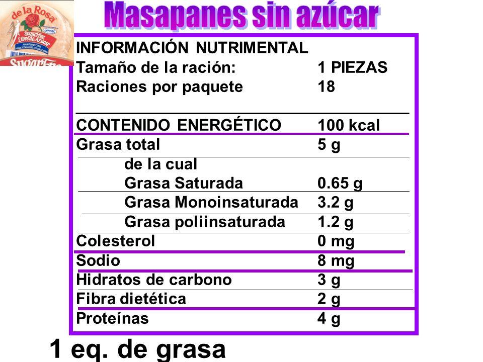 INFORMACIÓN NUTRIMENTAL Tamaño de la ración:1 PIEZAS Raciones por paquete18 _____________________________________ CONTENIDO ENERGÉTICO100 kcal Grasa t