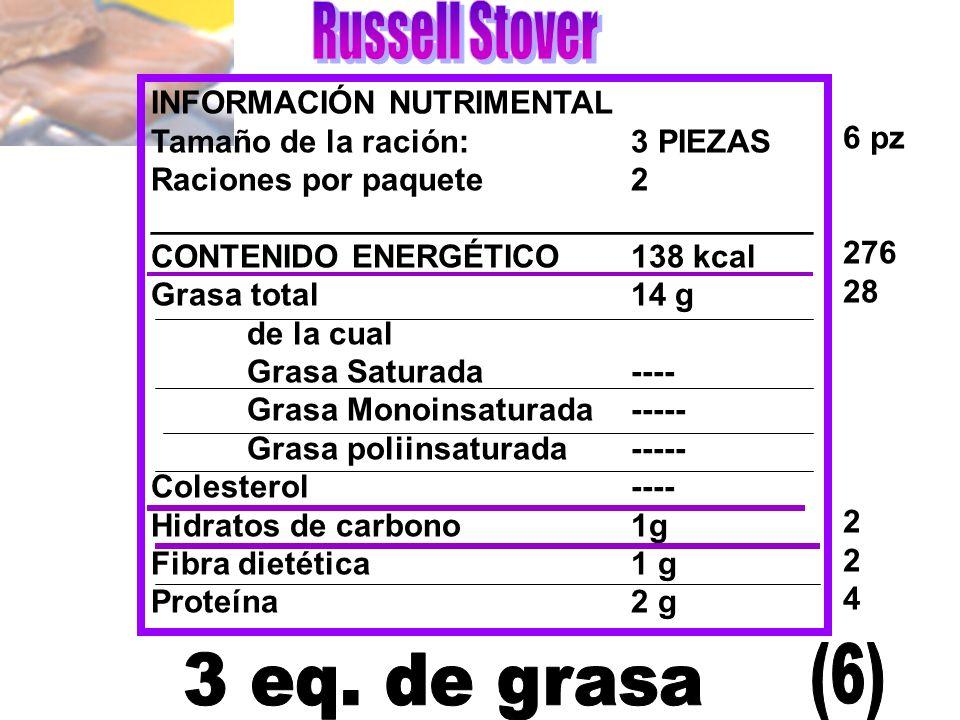 INFORMACIÓN NUTRIMENTAL Tamaño de la ración:3 PIEZAS Raciones por paquete2 _____________________________________ CONTENIDO ENERGÉTICO138 kcal Grasa to