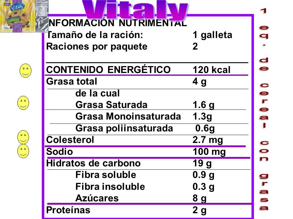 INFORMACIÓN NUTRIMENTAL Tamaño de la ración:1 galleta Raciones por paquete2 _____________________________________ CONTENIDO ENERGÉTICO120 kcal Grasa t
