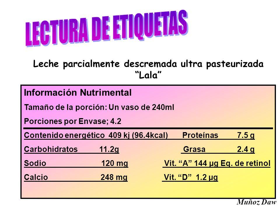 Información Nutrimental Tamaño de la porción: Un vaso de 240ml Porciones por Envase; 4.2 Contenido energético 409 kj (96.4kcal) Proteínas 7.5 g Carboh