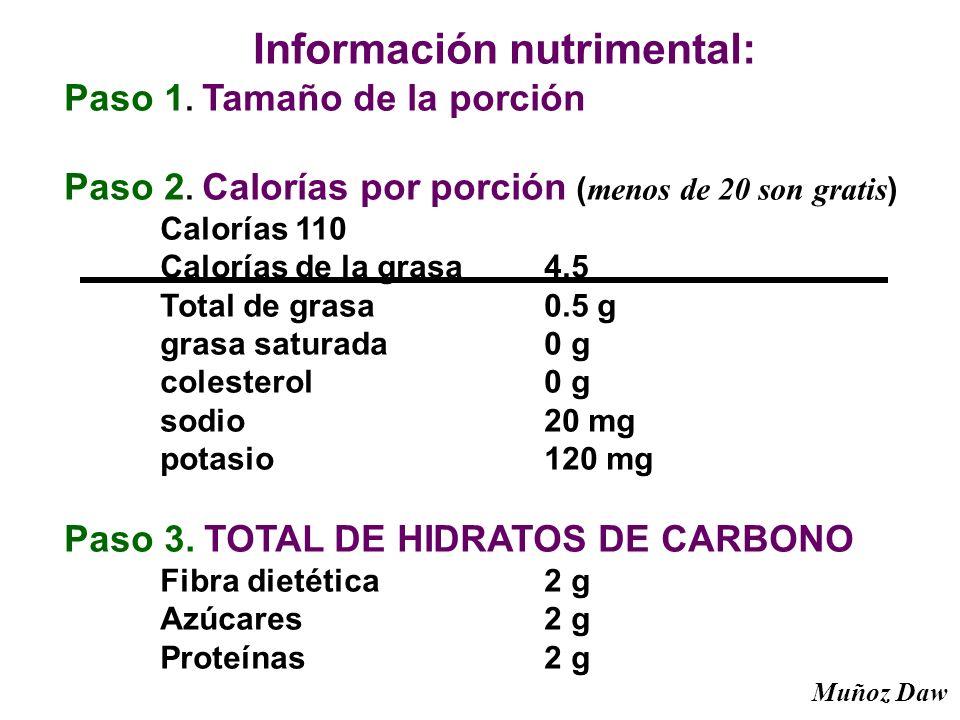 Información nutrimental: Paso 1. Tamaño de la porción Paso 2. Calorías por porción ( menos de 20 son gratis ) Calorías 110 Calorías de la grasa 4.5 To