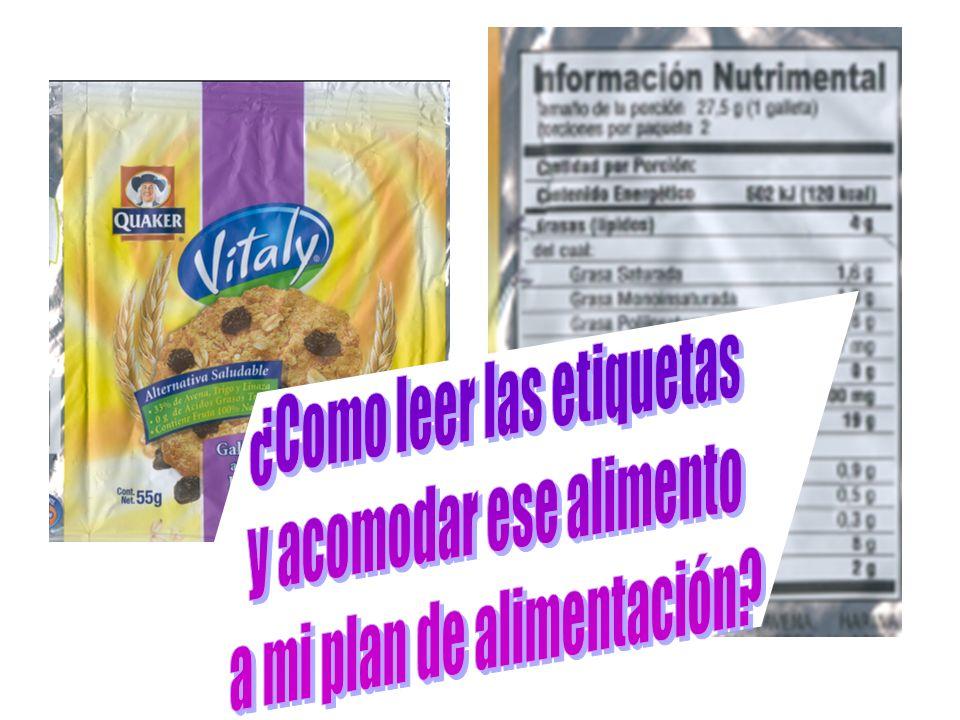 Alimento industrializado Tamaño porción Equivalentes de grupos de alimentos mermelad a 30 g1 ½ de azúcar Papas fritas 30 g1 cereal con grasa + 1 grasa Barrita Energy up 1 barrit a 2 de cereal + 1 grasa Muñoz Daw