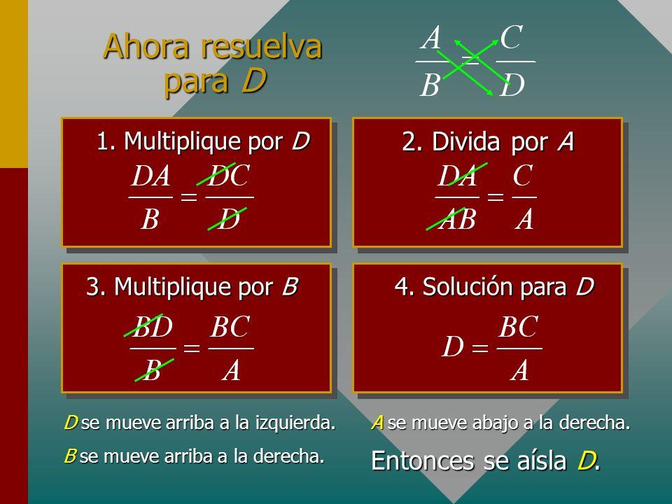 Reordenamiento de fórmulas Considere la siguiente fórmula: Multiplique por B para resolver para A: Note que B se movió arriba a la derecha. Por tanto,