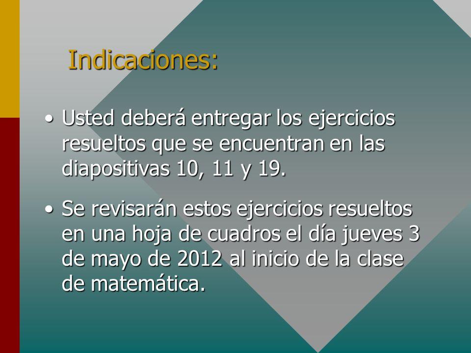 Indicaciones: Usted deberá entregar los ejercicios resueltos que se encuentran en las diapositivas 10, 11 y 19.Usted deberá entregar los ejercicios resueltos que se encuentran en las diapositivas 10, 11 y 19.