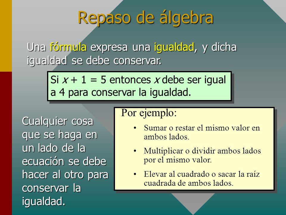 Cruces para factores Cuando en una fórmula sólo hay dos términos separados por un signo igual, se pueden usar los cruces.