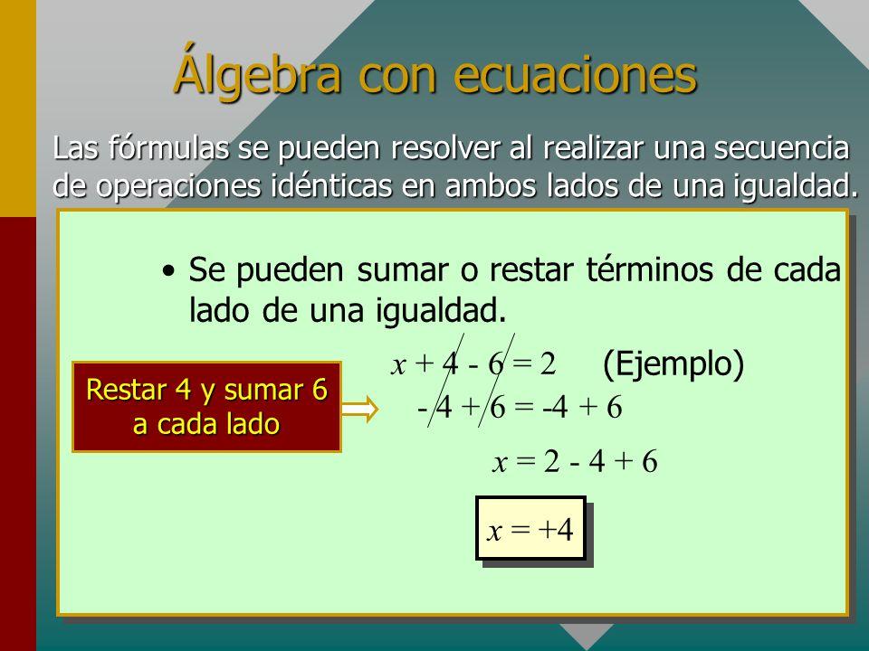 Álgebra con ecuaciones Las fórmulas se pueden resolver al realizar una secuencia de operaciones idénticas en ambos lados de una igualdad.
