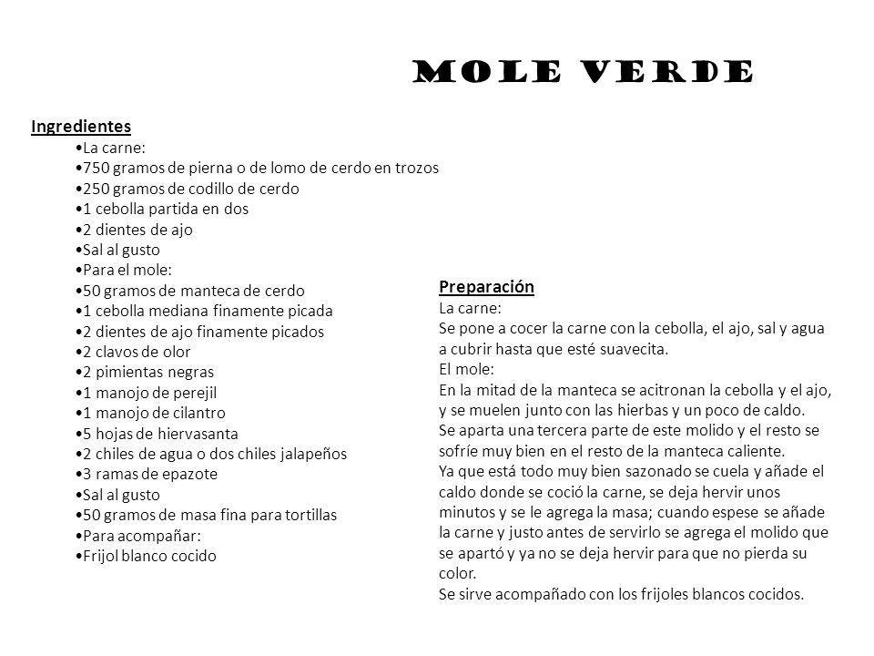 Mole poblano Características Alimento base: Chile Dificultad: Fácil Tiempo preparación: 50 min.