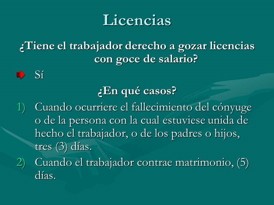 Licencias ¿Tiene el trabajador derecho a gozar licencias con goce de salario? Sí ¿En qué casos? 1)Cuando ocurriere el fallecimiento del cónyuge o de l