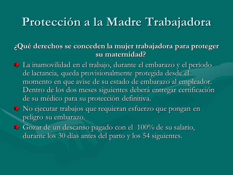 Protección a la Madre Trabajadora ¿Qué derechos se conceden la mujer trabajadora para proteger su maternidad? La inamovilidad en el trabajo, durante e
