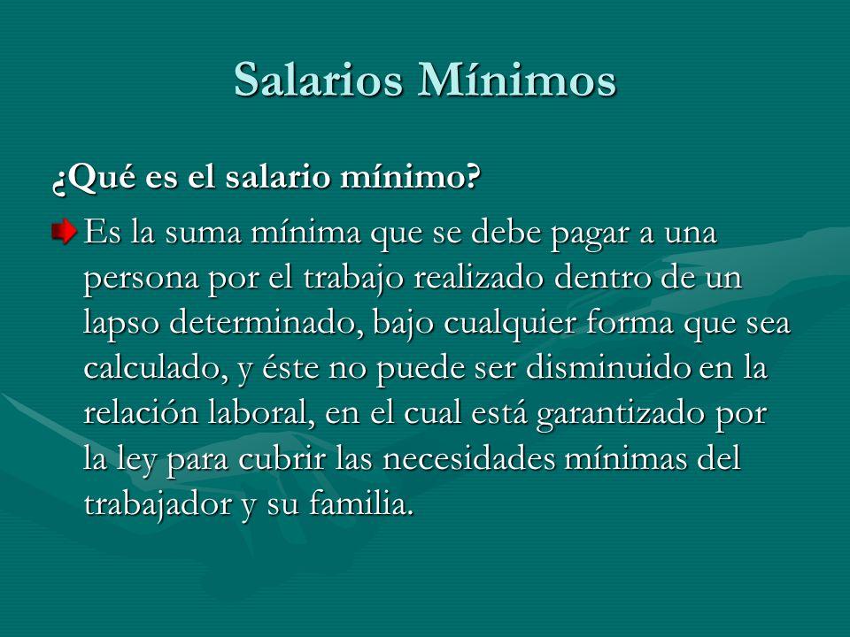 Salarios Mínimos ¿Qué es el salario mínimo? Es la suma mínima que se debe pagar a una persona por el trabajo realizado dentro de un lapso determinado,