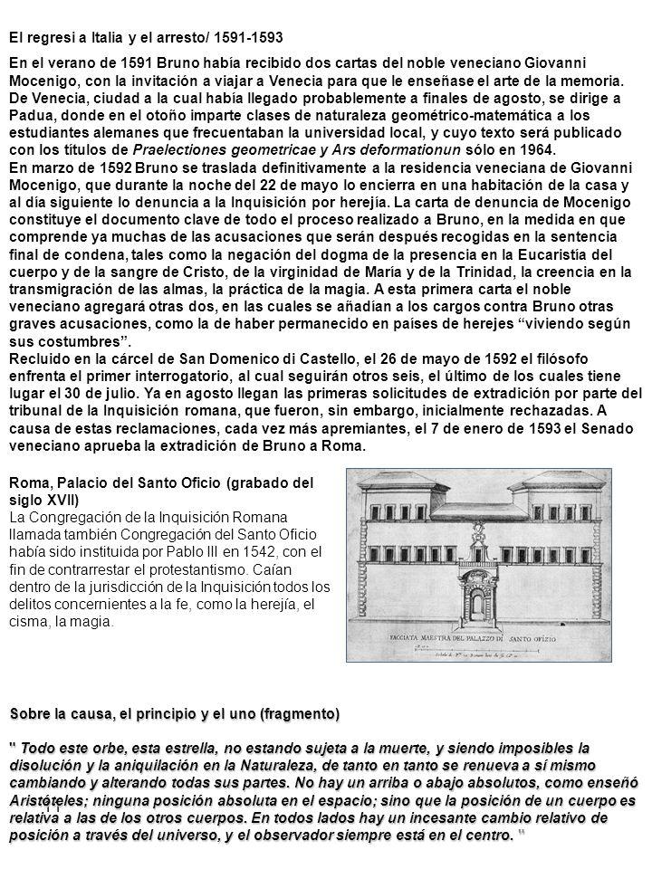 12 El proceso romano y la condena a muerte 1593-1600 El 27 de febrero de 1593 Bruno entra en las cárceles del Santo Oficio romano.