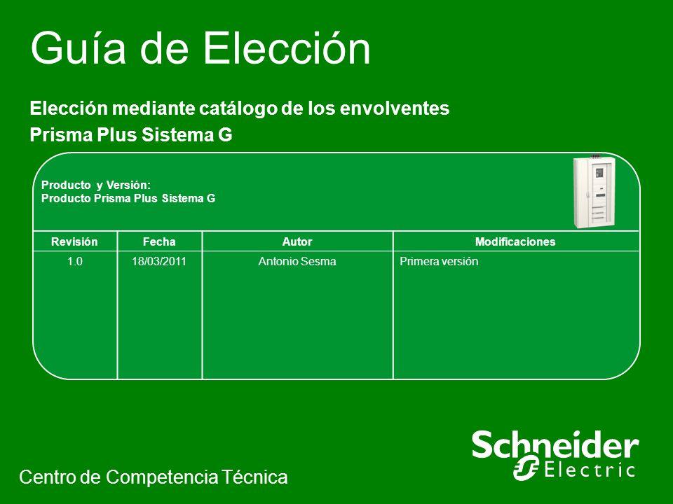 Guía de Elección Elección mediante catálogo de los envolventes Prisma Plus Sistema G Centro de Competencia Técnica Producto y Versión: Producto Prisma