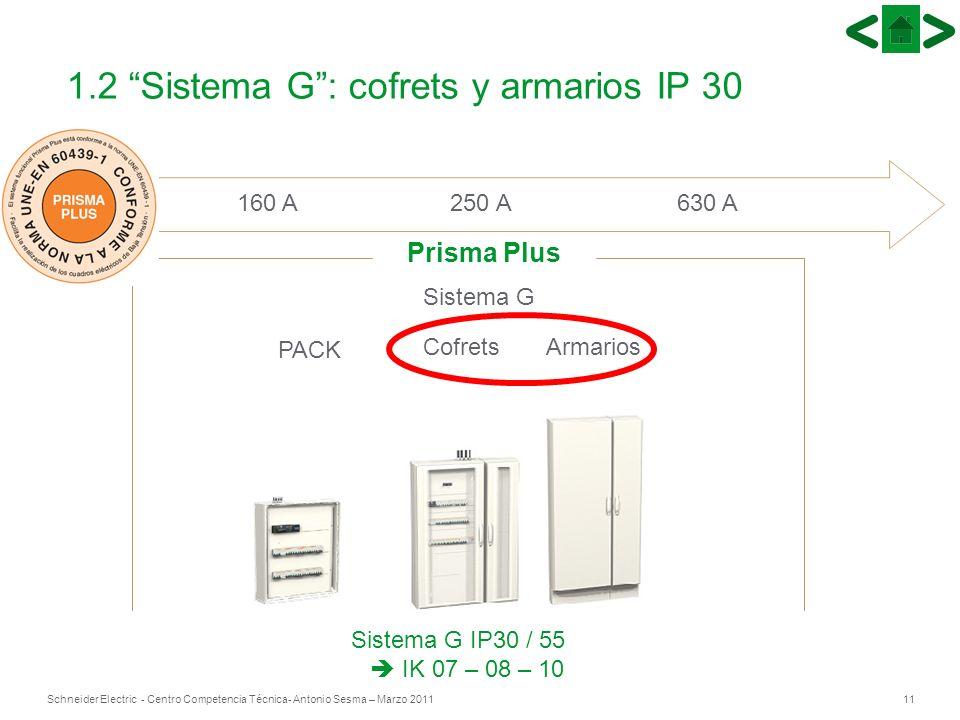 11Schneider Electric - Centro Competencia Técnica- Antonio Sesma – Marzo 2011 160 A 250 A 630 A PACK CofretsArmarios Sistema G Prisma Plus Sistema G I