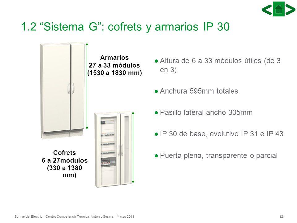 12Schneider Electric - Centro Competencia Técnica- Antonio Sesma – Marzo 2011 Altura de 6 a 33 módulos útiles (de 3 en 3) Anchura 595mm totales Pasill